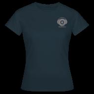 T-Shirts ~ Women's T-Shirt ~ Classic Logo Design + text ! For Women ! (grey logo on navy blue)