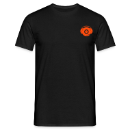 T-Shirts ~ Men's T-Shirt ~ Small Logo Only, Classic design (orange on black)