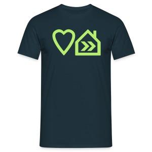 Love Progressive House (Symbolic, L Green on Navy) - Men's T-Shirt