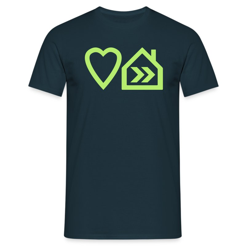 Love Progressive House (Symbolic, L Green on Navy) - Men's T-Shirt