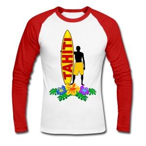 Tahiti surfing - Men's Long Sleeve Baseball T-Shirt