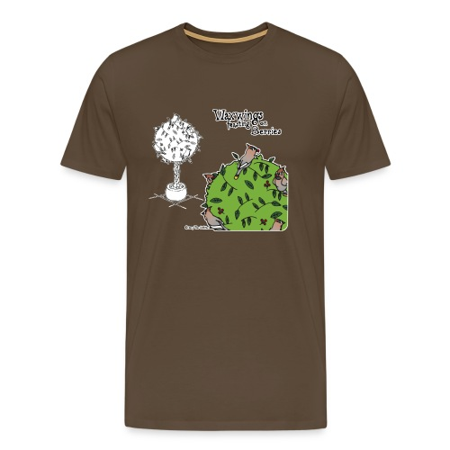 Waxwings feasting on Berries (brown) - Men's Premium T-Shirt