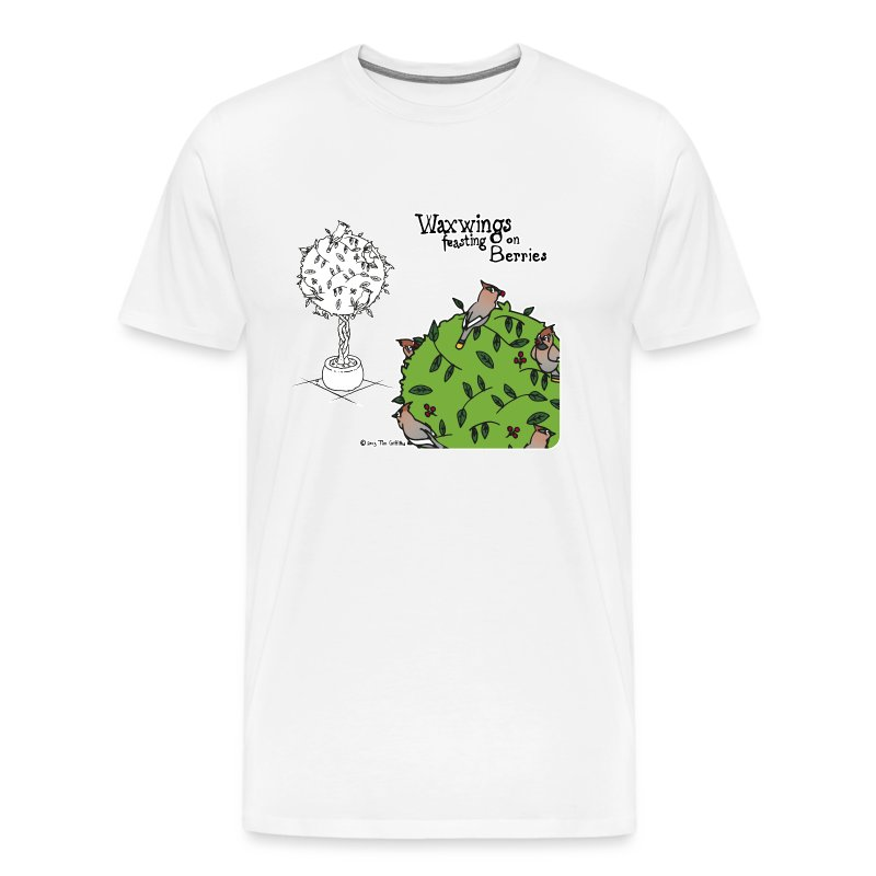 Waxwings feasting on Berries (white) - Men's Premium T-Shirt