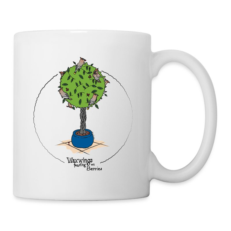 Waxwings feasting on Berries (colour) - Mug