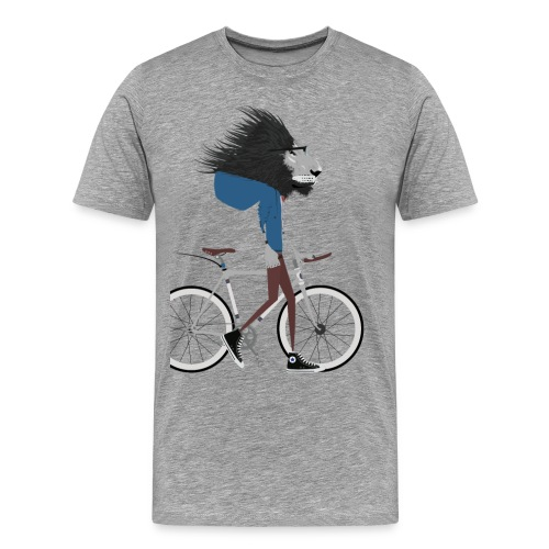 Hipster Lion bike - Men's Premium T-Shirt