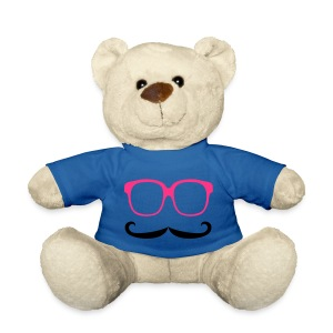 White teddy bear wearing t-shirt with Moustache and Glasses - Deep Blue - Teddy Bear