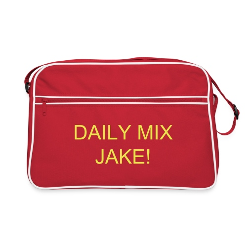 Daily Mix Jake! Red messenger bag with Yellow writing. - Retro Bag