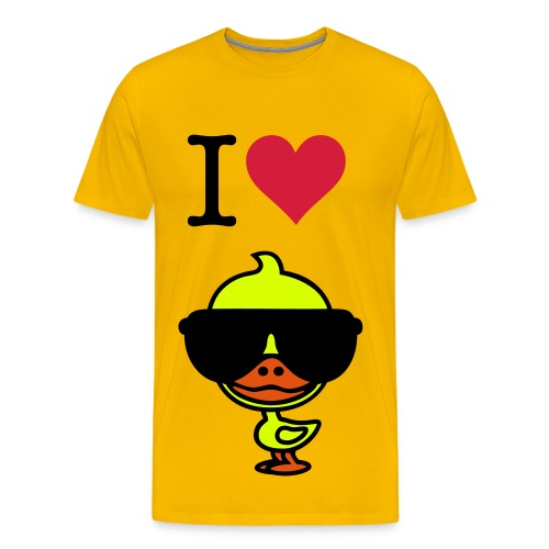 Men's classic t-shirt - Yellow with i Love Ducks on the front. - Men's Premium T-Shirt