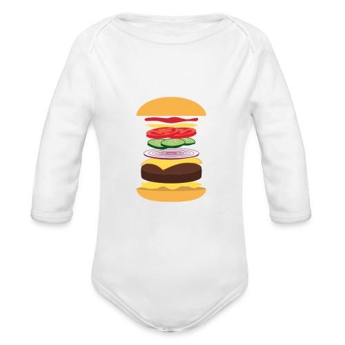 Baby's Exploded Cheeseburger Babygro - Organic Longsleeve Baby Bodysuit