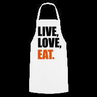 Delantales ~ Delantal de cocina ~ Live, Love, Eat.