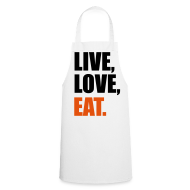 Delantales ~ Delantal de cocina ~ Live, Love, Eat.