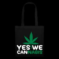 Bolsas y mochilas ~ Bolsa de tela ~ Yes We cannabis(blanco y verde)