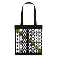 Bolsas y mochilas ~ Bolsa de tela ~ New York (blanco y dorado)