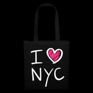 Bolsas y mochilas ~ Bolsa de tela ~ I love NYC(rosa y blanco)