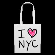 Bolsas y mochilas ~ Bolsa de tela ~ I love NYC (negro y rosa)