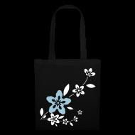 Bolsas y mochilas ~ Bolsa de tela ~ Bolsa Flores blancas y azules
