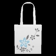 Bolsas y mochilas ~ Bolsa de tela ~ Bolsa con flores grises y azules