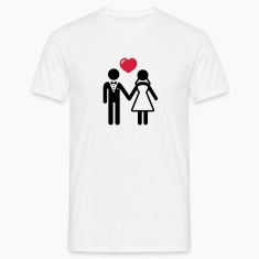 Bride and Groom with heart T-Shirts