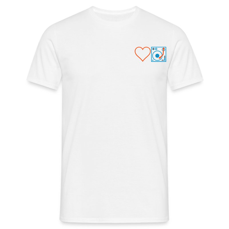 I DJ - Love DJ - Heart DJ - 2 color FLOCK print - Men's T-Shirt