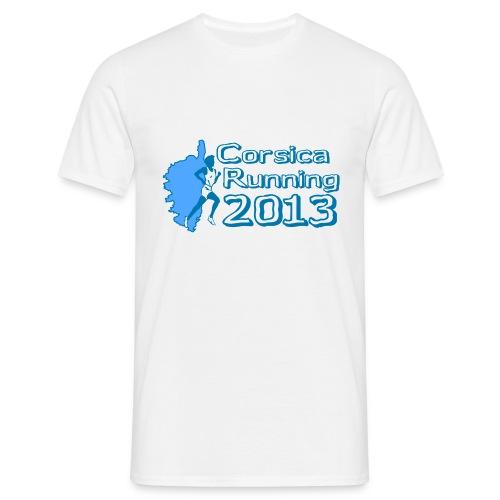 T-Shirt CORSICA RUNNING CLASSIQUE BLANC/BLEU - T-shirt Homme