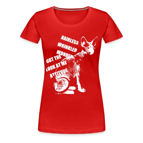 Women's Premium T-Shirt - Sphynx Attitude // Sphynx cat art motif // Design Nancy Christina