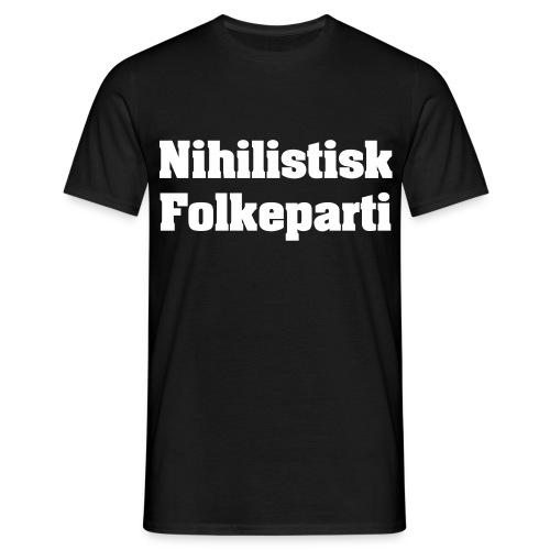 BAGSIDESLOGAN: Det hele er alligevel lygegyldigt - spild din stemme på os! - Herre-T-shirt