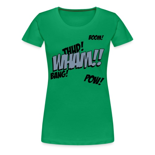 Womens Green Comic T-shirt - Women's Premium T-Shirt