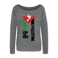 Sweat-shirts ~ Pull Femme col bateau de Bella ~ Free Palestine