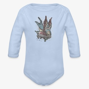 Vintage bird tattoo distressed - Organic Longsleeve Baby Bodysuit