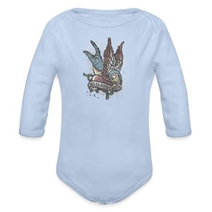 Vintage bird tattoo distressed - Baby bio-rompertje met lange mouwen