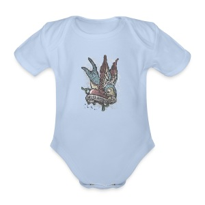 Vintage bird tattoo distressed - Baby bio-rompertje met korte mouwen