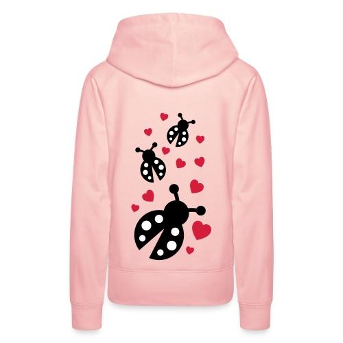 sweat femme coeurs et coccinelles au dos - Sweat-shirt à capuche Premium pour femmes