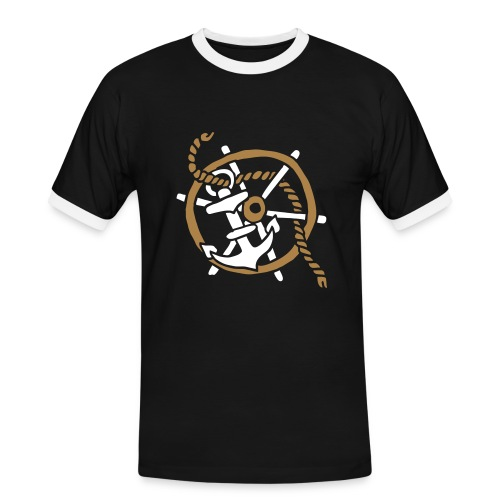 Anker Seemann Anchor Sailor Tattoo Oldschool SOS - Männer Kontrast-T-Shirt