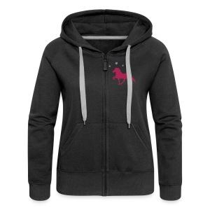 Horse with Stars and Star Sleeve Design - Womens Horse Hoodie - Women's Premium Hooded Jacket