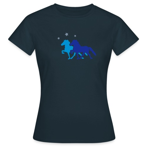 Two Icelandic Horses with silver Stars T-Shirt - Women's T-Shirt
