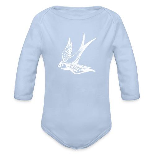 tier t-shirt schwalbe swallow vogel bird wings flügel retro - Baby Bio-Langarm-Body