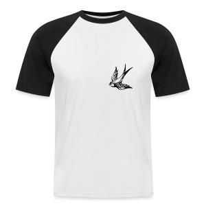 tier t-shirt schwalbe swallow vogel bird wings flügel retro - Männer Baseball-T-Shirt