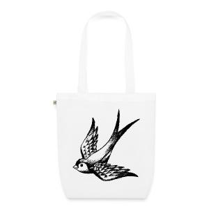 tier t-shirt schwalbe swallow vogel bird wings flügel retro - Bio-Stoffbeutel