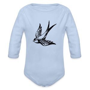 tier t-shirt schwalbe swallow vogel bird wings flügel retro - Baby Bio-Langarm-Body