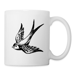tier t-shirt schwalbe swallow vogel bird wings flügel retro - Tasse
