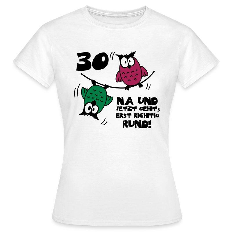 geburtstag 30 eulen am drahtseil rund t shirt spreadshirt. Black Bedroom Furniture Sets. Home Design Ideas