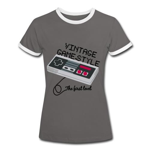 T-SHIRT VINTAGE GAME STYLE FEMME BICOLOR - T-shirt contrasté Femme