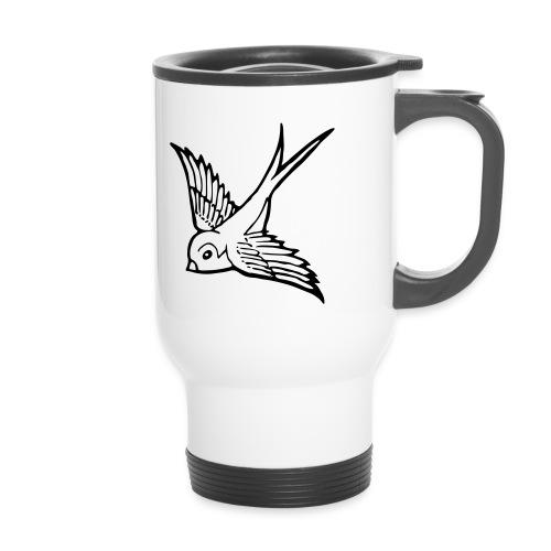 tier t-shirt schwalbe swallow vogel bird wings flügel retro - Thermobecher