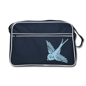 tier t-shirt schwalbe swallow vogel bird wings flügel retro - Retro Tasche
