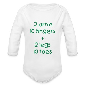 Count all fingers and toes! - Organic Longsleeve Baby Bodysuit