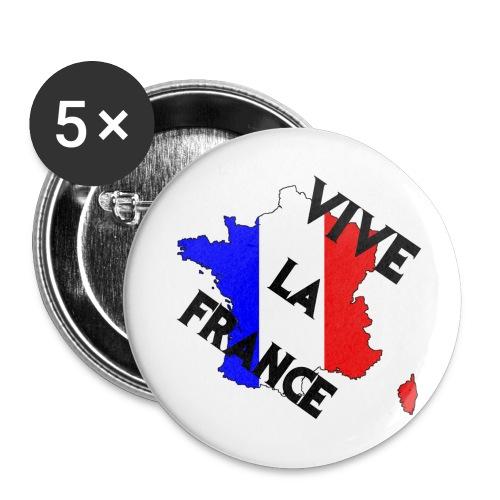 Lot de 5 grands badges (56 mm) - vive,la,france