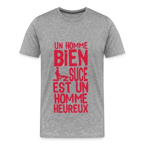 T-shirt Premium Homme - Au dos il y a l'inscription Je suis à la recherche du bonheur. Phrase qui veut tout dire quand on voit ce qu'il y a devant ...