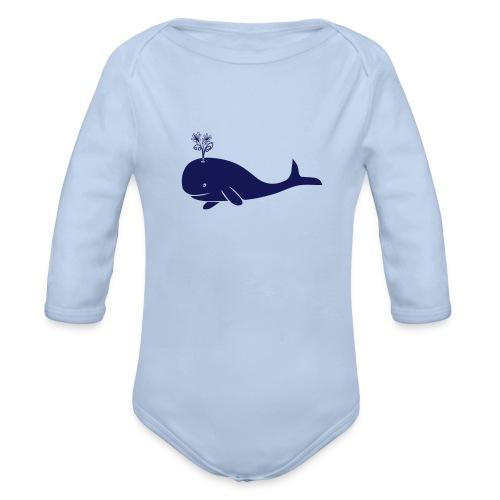 tier t-shirt wal whale delphin walfisch blauwal hai blume T-Shirts - Baby Bio-Langarm-Body