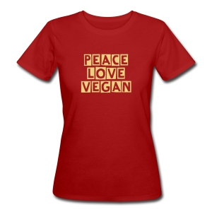 peace love vegan - marrone - T-shirt ecologica da donna