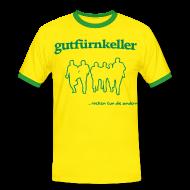 T-Shirts ~ Männer Kontrast-T-Shirt ~ Brasilien-Tarnhemd, Druck grün